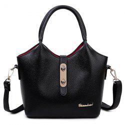 Twist Lock Strap Top Handle Bag and Clutch Bag Set