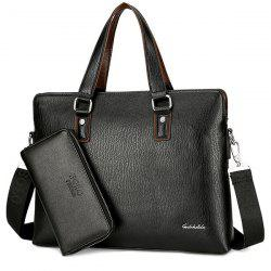 PU Leather Briefcase With Wallet - BLACK