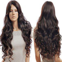 Long Side Parting Fluffy Wavy Synthetic Wig - BROWN