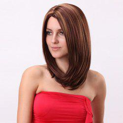 Medium Silky Straight Bob Side Parting Colormix Synthetic Wig