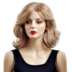 Medium Side Parting Layered Shaggy Wavy Bob Synthetic Wig