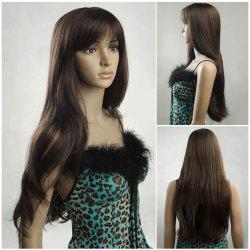 Ultra Long Fluffy Inclined Bang Natural Straight Synthetic Wig - DARK  BROWN