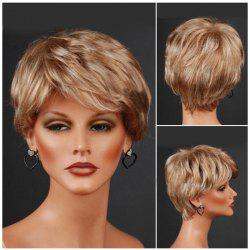 Short Layered Inclined Bang Straight Colormix Synthetic Wig - FLAX