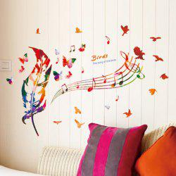 Vinyl Musical Note Feather Home Decor Wall Stickers - COLORMIX