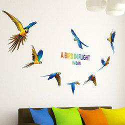 Parrot Bird DIY Wall Stickers Animals For Living Room - BLUE AND YELLOW