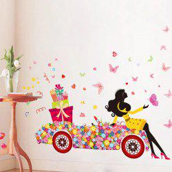 Beauty Girl Flower Car Removable PVC Wall Art Stickers