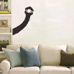 Cartoon Ostrich Head Removable Personalised Vinyl Wall Stickers - BLACK