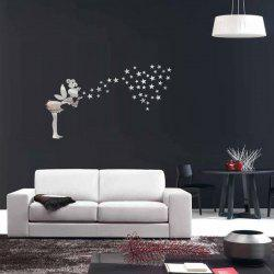 Fairy Star Acrylic Mirror Vinyl Wall Stickers For Living Room - SILVER
