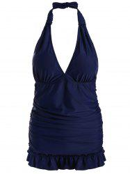 Halter Backless Tankini Swimsuit with Ruffles