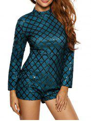 Plaid Sequin Bodycon Glitter Romper
