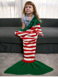 Ruffles Edge Crochet Knit Striped Mermaid Blanket Throw For Kids -