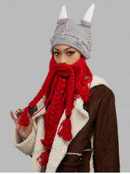 Tribal Beard Face Knitted Animal Head Hat - LIGHT GRAY