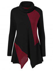 Color Block Asymmetric Turtleneck T-Shirt