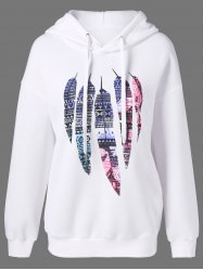 Tribal Feather Print Drawstring Hoodie