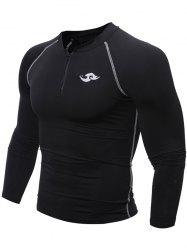 Tight Raglan Sleeve Half Zip Cycling Jerseys - BLACK