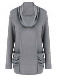 Cowl Neck Ruched Longline Knitwear - GRAY L