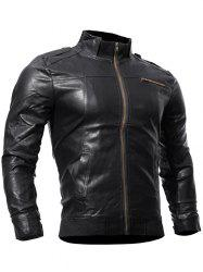 Zip Up Panel Faux Leather Biker Jacket - BLACK