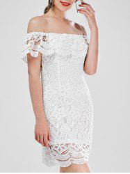 Flounce Off The Shoulder Mini Lace Vestido Dress