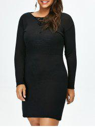 Plus Size Lace Up Fitted Jumper Dress -