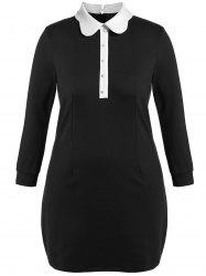 Plus Size Collared Long Sleeve Mini Dress