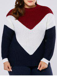 Plus Size Color Block  Chunky Sweater