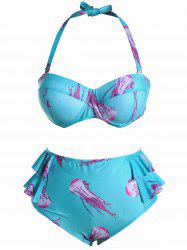 Push Up Halter Flounce Plus Size Bikini - AZURE 5XL