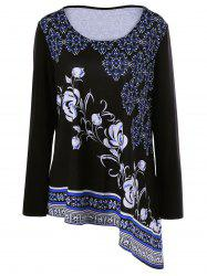 Plus Size Floral Asymmetrical T-Shirt -