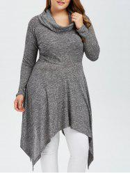Plus Size Asymmetric Cowl Neck Knitwear - GRAY