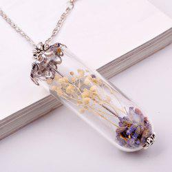 Leaf Wish Glass Ball Pendant Necklace -