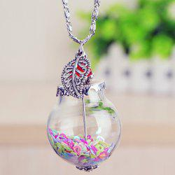 Heart Leaf Glass Ball Pendant Necklace