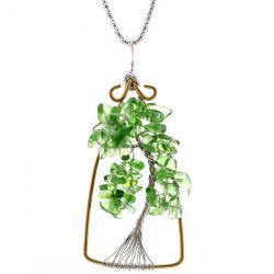 Natural Stone Life Tree Pendant Necklace