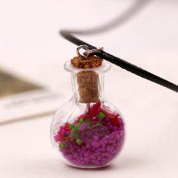 Glass Ball Artificial Leather Rope Necklace