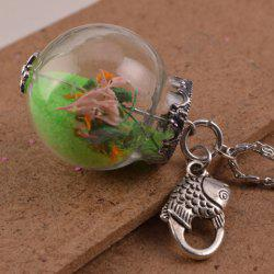 Glass Ball Conch Fish Pendant Necklace