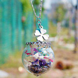 Glass Ball Dry Flower Clover Necklace