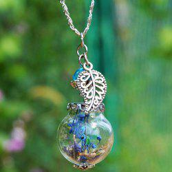 Glass Ball Dry Flower Leaf Necklace