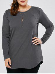 Plus Size Round Neck Long Tee