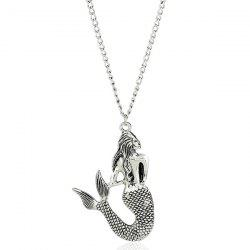 Engraved Mermaid Pendant Sweater Chain -