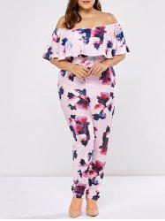 Plus Size Off The Shoulder Flounce Floral Jumpsuit