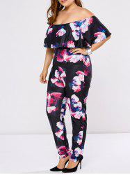 Plus Size Off The Shoulder Flounce Floral Jumpsuit - BLACK