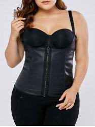 Zip Up Strap Faux Leather Corset - BLACK