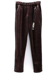 Graphic Elastic Waist Velvet Pants