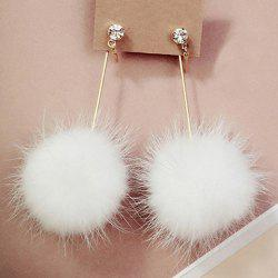 Rhinestone Fuzzy Ball Drop Earrings