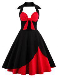 Two Tone Vintage Rockabilly Party Skater Dress - RED WITH BLACK L