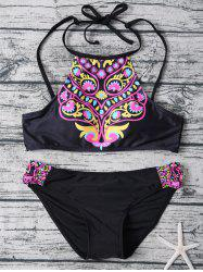 Totem Print High Neck Bikini Set
