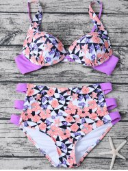 High Waisted Geometric Floral Print Bikini