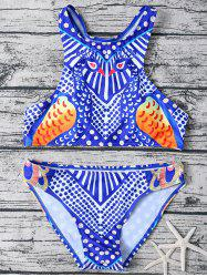 Printed High Neck Racerback Bikini Swimwear
