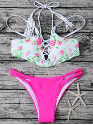 Lace Up Flower Print Bikini