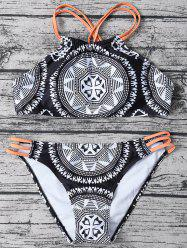 Printed High Neck Strappy Top Bikini