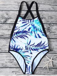 Palm Leaf Backless One Piece Swimsuit