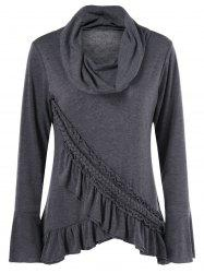 Tulip Hem Braid Ruffled T-Shirt